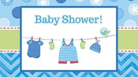 Borddækning og engangsservice til Baby Shower - Shower With Love - Dreng