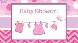 Borddækning og engangsservice til Baby Shower - Shower With Love - Pige