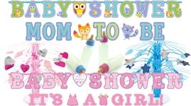 Pynt, bannere og dekorationer til Baby Shower