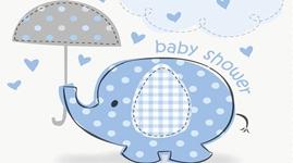Borddækning og engangsservice til baby shower - Umrellaphants - Dreng