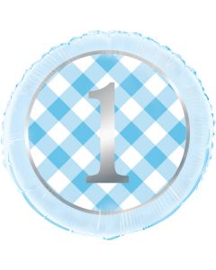 1 års fødselsdag folieballon i lyseblå med sølvtryk