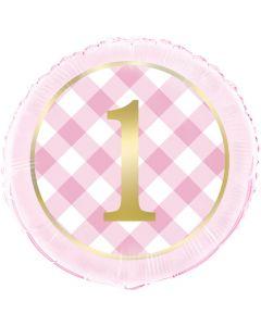 1 års folieballon i lyserød med guldtryk