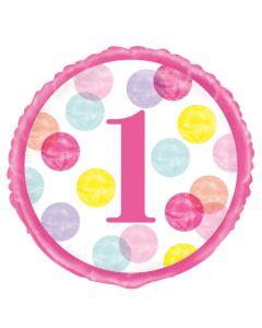 1 års folieballon i pink