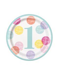 1 års fødselsdag kagetallerkner 8 stk. - Pige/prikker