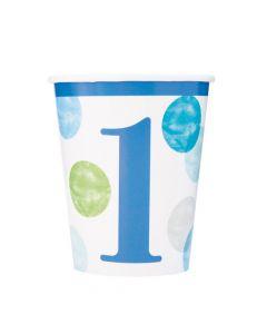 1 års fødselsdags papkrus i blå