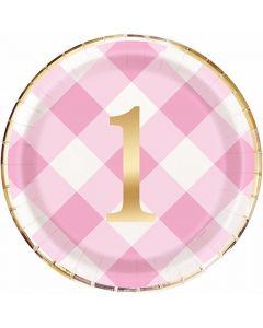 Lyserød 1 års fødselsdags tallerken i pap