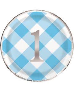 1 års paptallerkner i lyseblå med sølvtryk