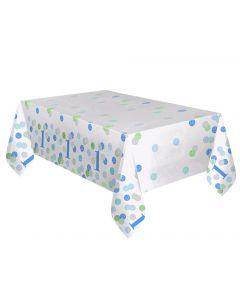 Plastikdug til 1 års fødselsdag i blå, grøn og hvid.
