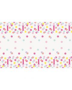 Lyserød plastikdug til 1 års fødselsdag