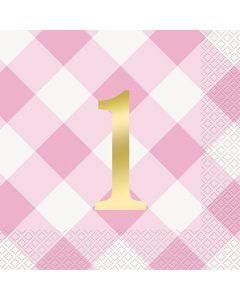 1 års fødselsdags servietter i lyserød og guld