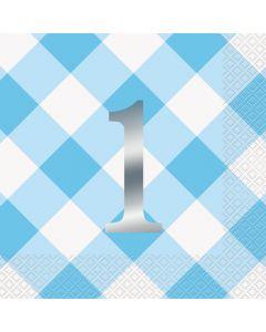 1 års servietter i lyseblå og sølv