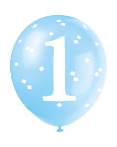 Blå balloner til 1 års fødselsdag
