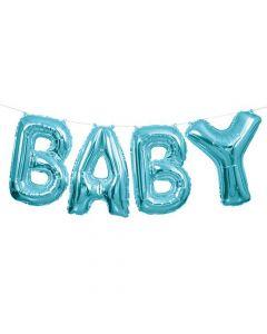 Baby folieballon banner - Lyseblå