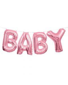Baby folieballon banner - Lyserød