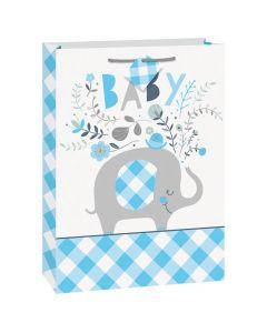 Lyseblå gavepose til baby gaver