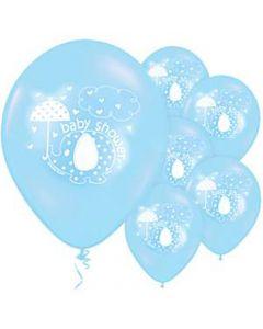 Baby shower balloner 8 stk. - Umbrellaphants - Lyseblå