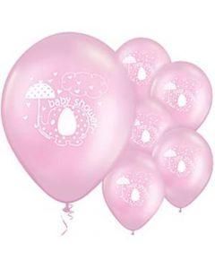 Baby shower balloner 8 stk. - Umbrellaphants - Lyserøde