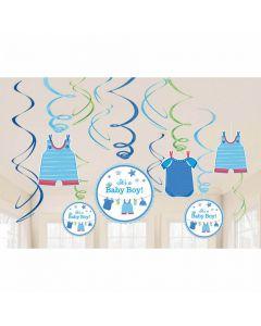 Baby shower hænge dekorationer 12 dele - Dreng