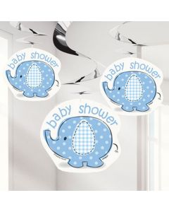 Baby shower hænge dekorationer 3 stk. - Umbrellaphants - Dreng