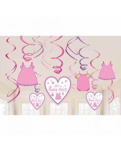 Baby shower hænge dekorationer 12 dele - Pige