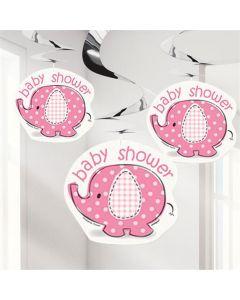 Baby shower hænge dekorationer 3 stk. - Umbrellaphants - Pige