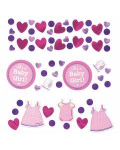 Baby shower konfetti 34 g. - Pap og metal folie - Pige