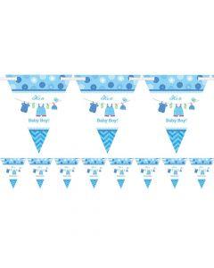 Dette vimpelbanner i lyseblåt er perfekt til babyshower eller barnedåb, hvis det er en dreng. Det måler 4.5 meter.