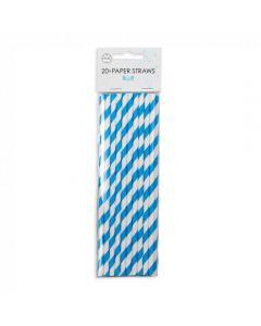 Stribede papsugerør i blå og hvid