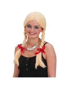 Blond paryk med fletninger og røde sløjfer