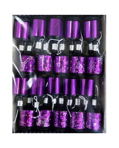 Party poppers i lilla metallic