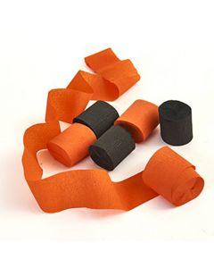 Crepebånd 6 ruller - Orange og sorte