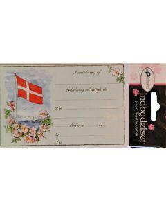 Fødselsdags indbydelse 5 stk. Flag ved havet