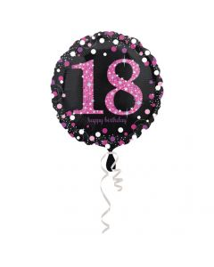 18 års fødselsdag folieballon 1 stk. - Pink
