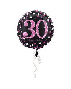 30 års fødselsdag folieballon 1 stk. - Pink