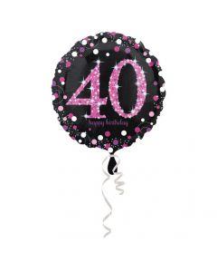 40 års fødselsdag folieballon 1 stk. - Pink