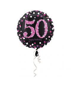 50 års fødselsdag folieballon 1 stk. - Pink