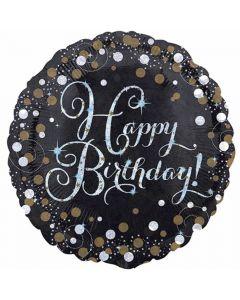 Happy Birthday folieballon 1 stk. - Sølv