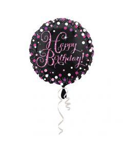 Happy Birthday folieballon 1 stk. - Pink