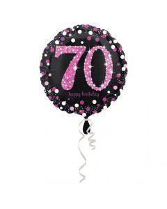 70 års fødselsdag folieballon 1 stk. - Pink