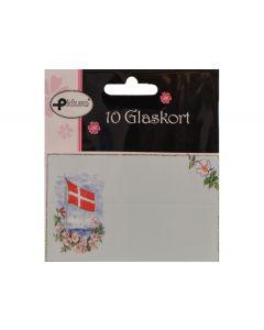 Glaskort/bordkort 10 stk. Flag ved havet