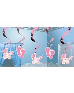 Loft dekorationer til dåb eller baby shower 5 stk. Pige