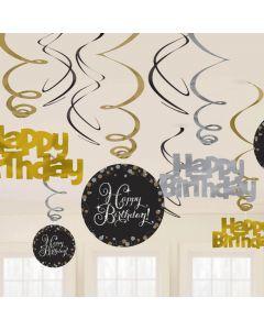 Happy Birthday hænge dekorationer 12 stk. - Sølv