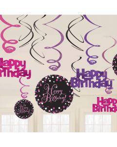Happy Birthday hænge dekorationer 12 stk. - Pink