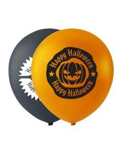Halloween balloner 10 stk. - Græskar & kranie