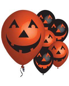 Halloween græskar balloner 6 stk. - Sort og orange