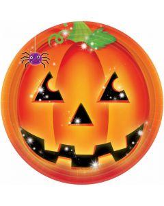 Halloween paptallerkner 8 stk. - Græskar