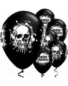 Halloween balloner 6 stk. - Kranie