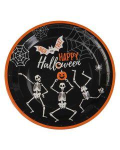 Halloween paptallerkner med skeletter