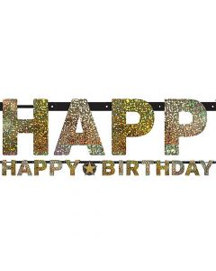 Happy Birthday banner 2,13 m. - Guld