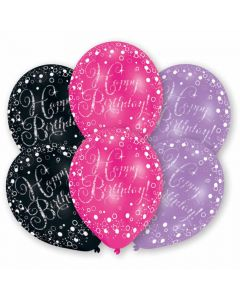 Pink, lilla og sorte Happy Birthday balloner